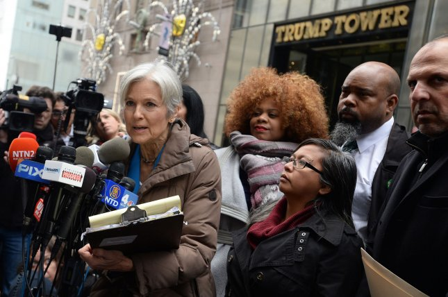 Green Party presidential candidate Jill Stein discusses the recount efforts in Wisconsin, Michigan and Pennsylvania outside Trump Tower in New York City on Monday -- where she vowed to fight tooth and nail to verify the accuracy, security, and fairness of the vote. A federal judge ordered Sunday that the Michigan recount begin Monday at noon -- an order the state's Republican Party later appealed. Photo by Dennis Van Tine/UPI