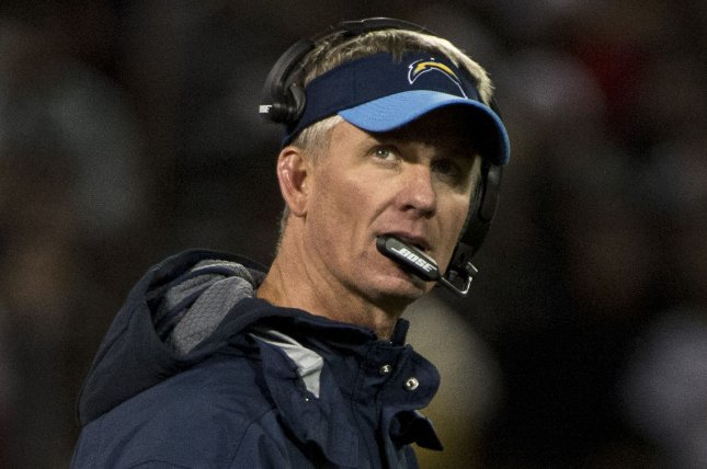 San Diego Chargers Head Coach Mike McCoy holds his review flag as he watches the scoreboard replay in the second quarter against the Oakland Raiders at O.co Coliseum in Oakland, California on December 24, 2015. McCoy threw the flag but lost the review. The Raiders defeated the Chargers 23-20 in overtime. Photo by Terry Schmitt/UPI
