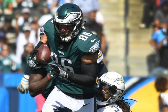 Philadelphia Eagles tight end Zach Ertz (86) runs for yardage as Los Angeles Chargers' cornerback Jaleel Addae (37) makes the tackle during the second quarter at StubHub Center in Carson, California on October 1, 2017. File photo by Jon SooHoo/UPI