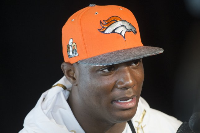 Former Denver Broncos linebacker DeMarcus Ware speaks to the media on February 2, 2016 in Santa Clara, California. File photo by Kevin Dietsch/UPI