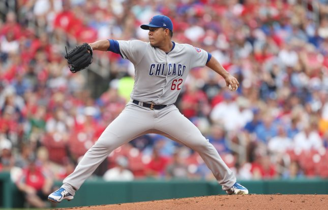 Jose Quintana and the Chicago Cubs take on the Pittsburgh Pirates on Sunday. Photo by Bill Greenblatt/UPI