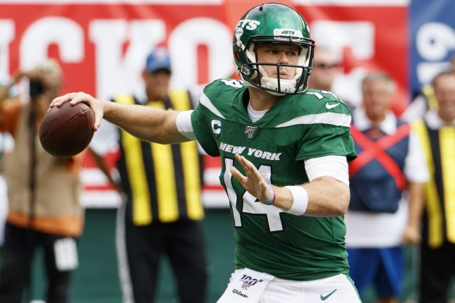 New York Jets quarterback Sam Darnold completed 28 of 41 passes for 175 yards and a touchdown in a Week 1 loss to the Buffalo Bills. Photo by Chris Szagola/UPI