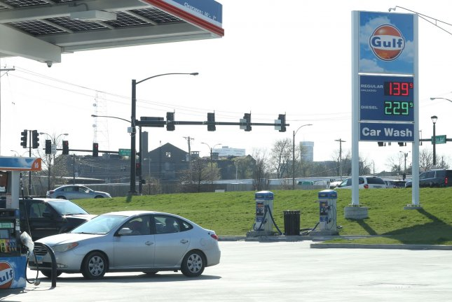 Gasoline prices in the United States accounted for about half of the rise in consumer prices last month, Wednesday's report said. File Photo by Bill Greenblatt/UPI