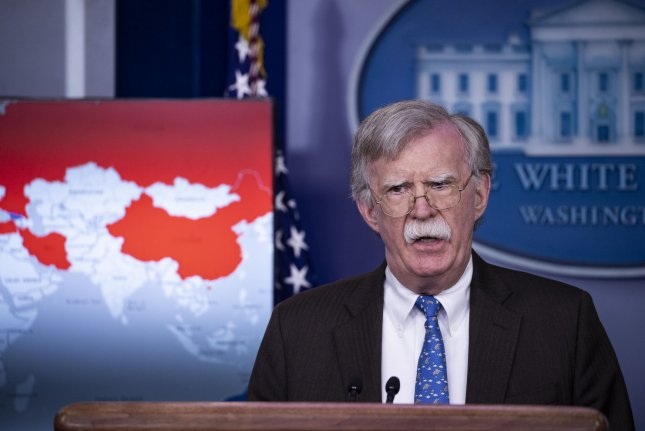 National security adviser John Bolton warned business people Wednesday against doing business in Venezuelan commodities. Photo by Alex Edelman/UPI