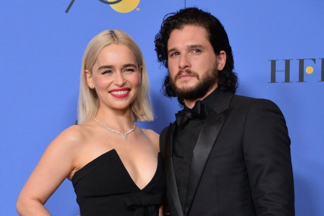 Kit Harington (R), pictured with Emilia Clarke, shared his feelings about Game of Thrones ending on Today. File Photo by Jim Ruymen/UPI