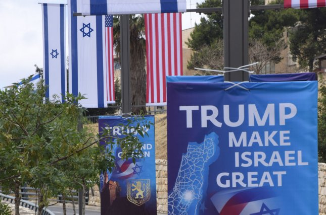 A banner in Jerusalem praises U.S. President Donald Trump on a road leading to the U.S. consulate. File Photo by Debbie Hill/UPI