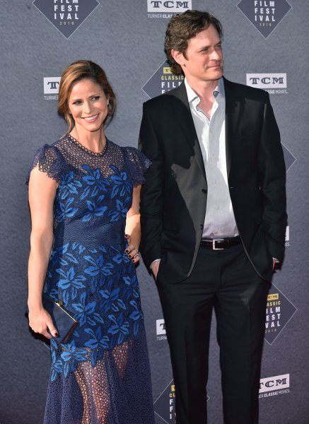 Andrea Savage and Tom Everett Scott arrive for the TCM Classic Film Festival opening night gala screening of The Producers at the TCL Chinese Theatre in Los Angeles on April 26, 2018. Scott turns 50 on September 7. File Photo by Chris Chew/UPI