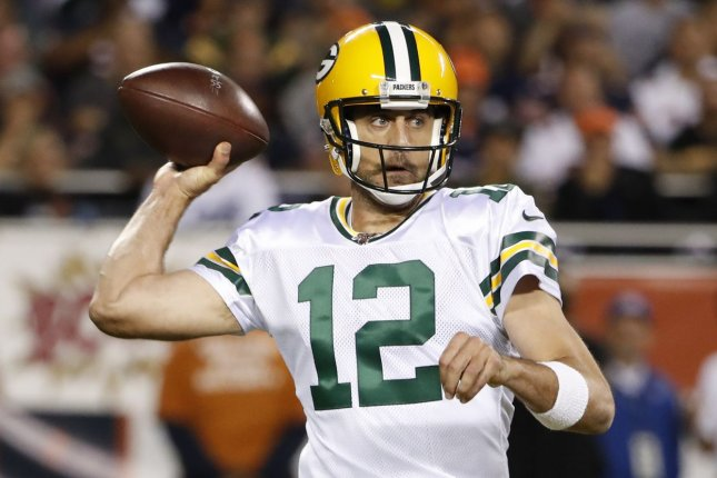 Green Bay Packers quarterback Aaron Rodgers is my No. 1 option at the position for Week 8. File Photo by Kamil Krzaczynski/UPI