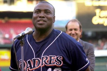 San Diego Padres' Tony Gywnn, addresses the crowds at Busch Stadium prior to a game with the St. Louis Cardinals, August 28, 2001.(File/Bill Greenblatt/UPI)