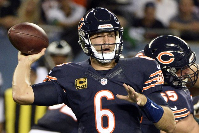 Chicago Bears quarterback Jay Cutler throws during the first quarter against the Philadelphia Eagles at Soldier Field in Chicago on September 19, 2016. Photo by Brian Kersey/UPI