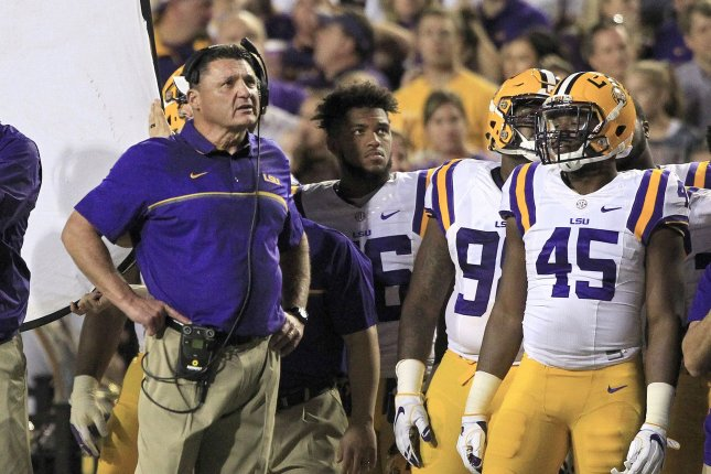 LSU Tigers head coach Ed Orgeron looks up at the scoreboard at Tiger Stadium during the game with Alabama Crimson Tide in Baton Rouge, La. November 5, 2016. Photo by AJ Sisco/UPI