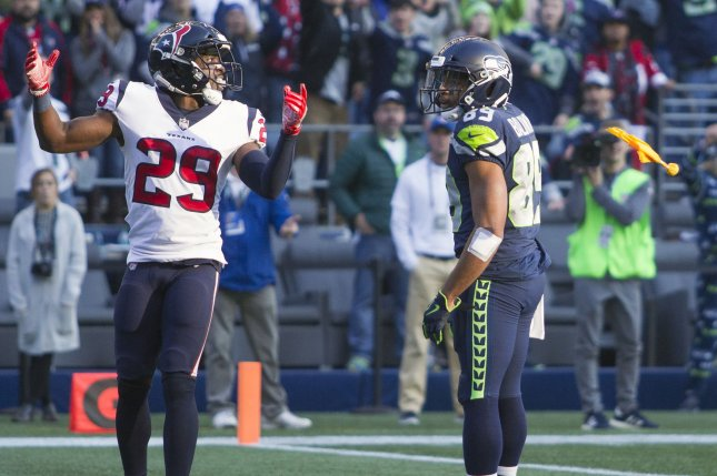 Seattle Seahawks wide receiver Doug Baldwin (89) watches Houston Texans safety Andre Hal (29) react to an interference call in the end zone during the fourth quarter on October 29, 2017 at CenturyLink Field in Seattle. Photo by Jim Bryant/UPI