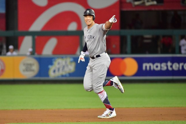 New York Yankees' Aaron Judge (99) rounds the bases after a solo home run against the National League during the second inning of the MLB All-Star Game on July 17 at Nationals Park in Washington, D.C. Photo by Kevin Dietsch/UPI