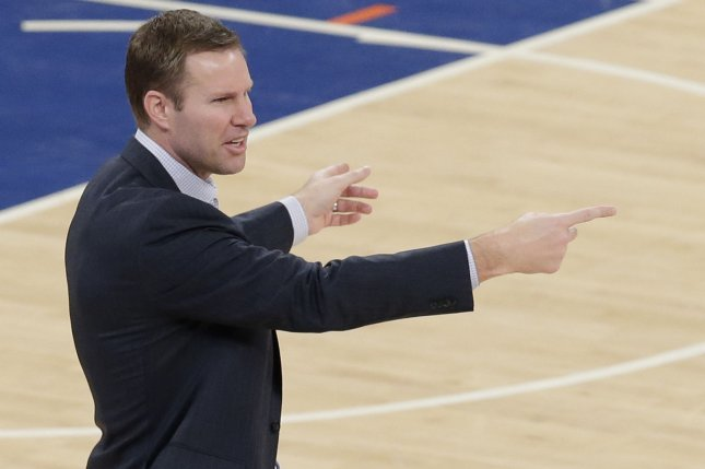Chicago Bulls head coach Fred Hoiberg coaches on the court in the second half against the New York Knicks at Madison Square Garden in New York City on January 12, 2017. The Knicks defeated the Bulls 106-89. Photo by John Angelillo/UPI