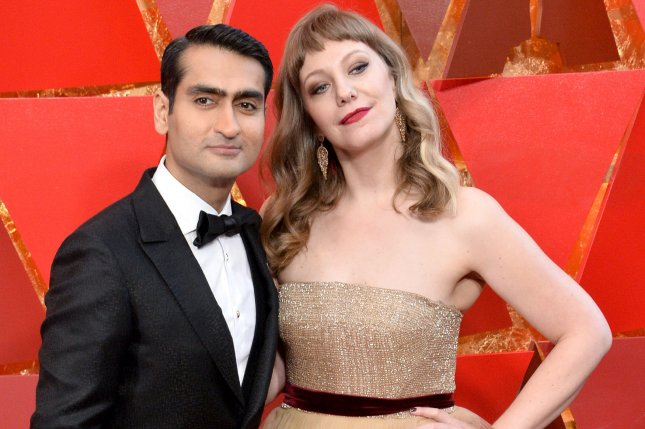 Kumail Nanjiani (L) and his wife Emily V. Gordon. Nanjiani will announce the 2019 Oscar nominations with Tracee Ellis Ross. File Photo by Jim Ruymen/UPI