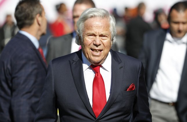 A Florida judge granted New England Patriots owner Robert Kraft's measure to suppress the use of a video that allegedly shows him soliciting the services of a prostitute in court. File Photo by Kamil Krzaczynski/UPI