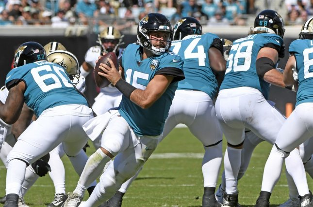 Jacksonville Jaguars quarterback Gardner Minshew (15) has a 4-4 record as the team's starter with 13 touchdowns and four interceptions this season. File Photo by Joe Marino/UPI