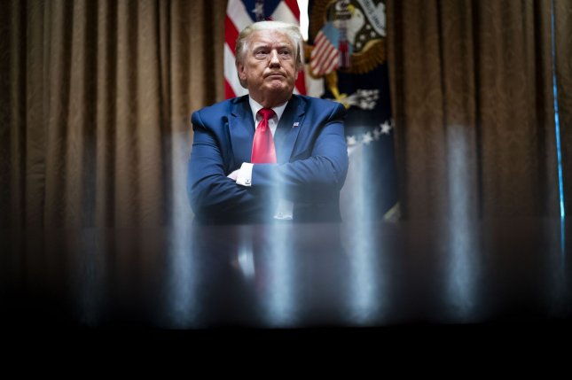 President Donald Trump said late Friday night he would delay his first campaign rally since March to June 20 out of respect for Juneteenth. Pool photo by Doug Mills/UPI