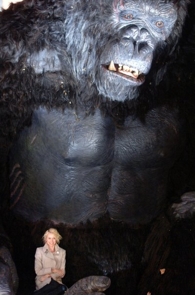 Naomi Watts sits in King Kong's hands as the New York City Mayor Michael Bloomberg and the Cast of King Kong Declare December 5th King Kong Day in Times Square in New York on December 5, 2005. (UPI Photo/Ezio Petersen)