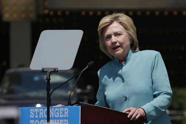Democratic candidate for President Hillary Clinton gives a speech by the closed down Trump Plaza on the Atlantic City boardwalk in Atlantic City, NJ on July 6, 2016. Hillary Clinton after greeted people on strike outside of Trump Taj Mahal. On Tuesday F.B.I. director, James B. Comey recommended no criminal charges against Hillary Clinton for her handling of classified information while she was secretary of state. Photo by John Angelillo/UPI