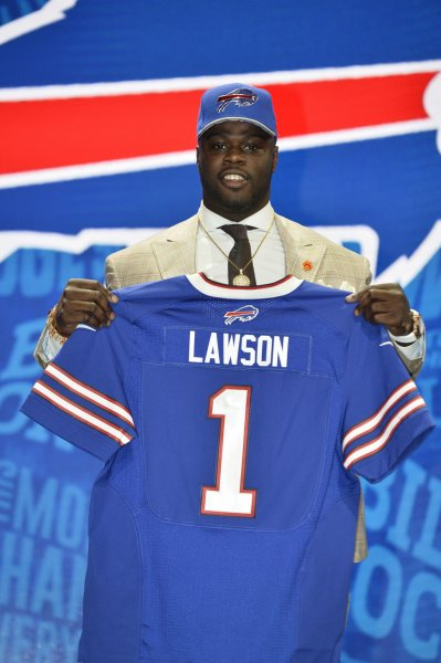 Buffalo Bills defensive end Shaq Lawson holds his jersey after being selected with the 19th overall pick in the 2016 NFL Draft. Photo by Brian Kersey/UPI