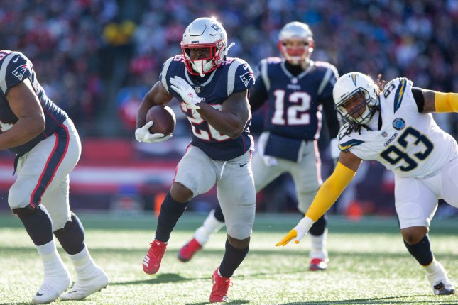 New England Patriots running back Sony Michel (26) had 931 yards and six scores on 2019 carries last season while appearing in 13 games. He should see a bump in production in 2019, while aided by a friendly schedule. File Photo by Matthew Healey/UPI