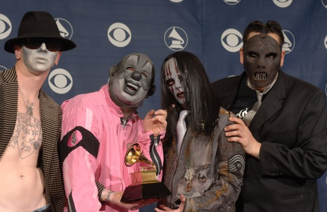 The heavy-metal band Slipknot has the No. 1 album in the United States this week. File Photo by Phil McCarten/UPI