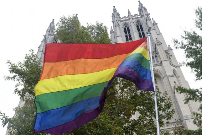 A rainbow flag is seen outside of the Washington National Cathedral in Washington, D.C. File Photo by Leigh Vogel/UPI