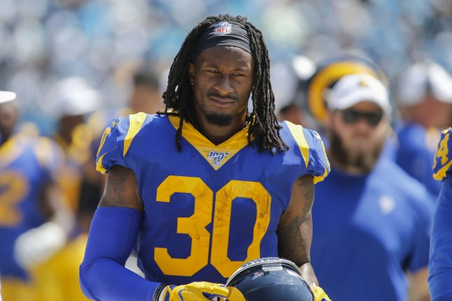 Todd Gurley had a career-low 223 carries last season, but piled up 1,064 yards from scrimmage and scored 14 touchdowns for the Los Angeles Rams. File Photo by Nell Redmond/UPI
