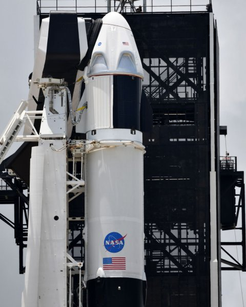 A SpaceX Crew Dragon capsule sits atop a Falcon 9 rocket at Kennedy Space Center on Friday. Photo by Joe Marino/UPI