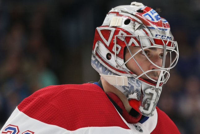 Goaltender Carey Price saved 37 of 39 shots in the Montreal Canadiens' win over the Vegas Golden Knights in Game 6 of a Stanley Cup Playoffs Semifinals series Thursday in Montreal. File Photo by Bill Greenblatt/UPI