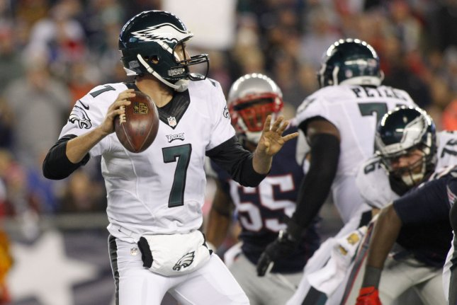 Philadelphia Eagles quarterback Sam Bradford (7) drops back for a pass in the second quarter against the New England Patriots at Gillette Stadium in Foxborough, Massachusetts on December 6, 2015. Photo by Matthew Healey/ UPI