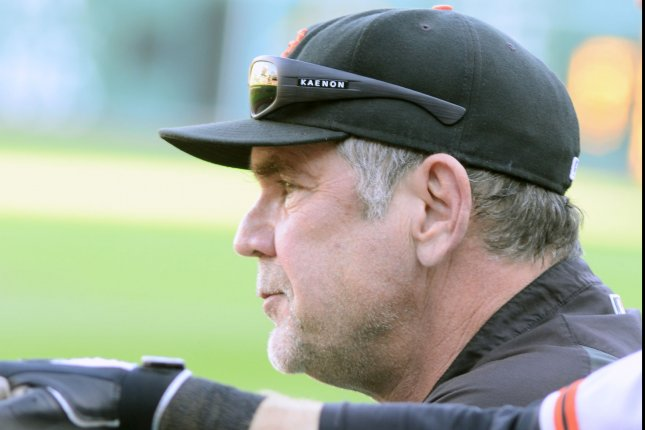 San Francisco Giants manager Bruce Bochy (15). Photo by Archie Carpenter/UPI