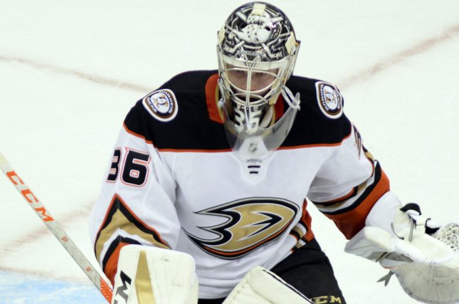 John Gibson and the Anaheim Ducks face the New York Rangers on Thursday. Photo by Archie Carpenter/UPI