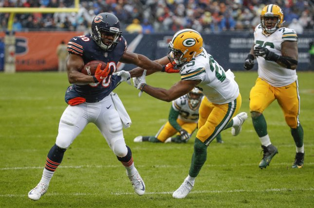 Former Chicago Bears running back Benny Cunningham (30) signed with the Jacksonville Jaguars on Tuesday. He spent the last two seasons with the Bears. File Photo by Kamil Krzaczynski/UPI