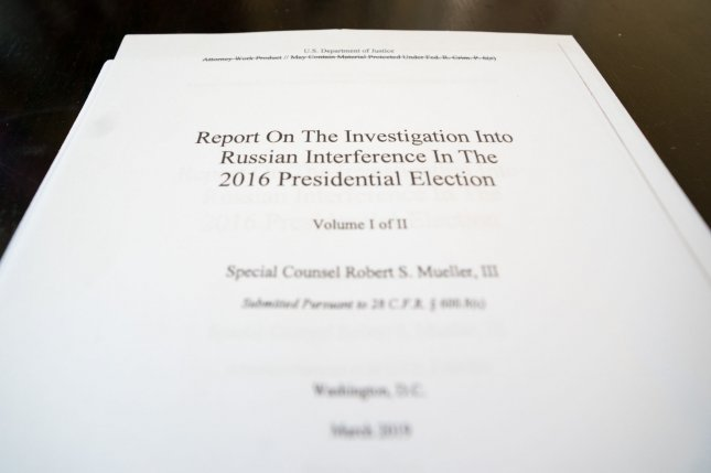 The first page of special counsel Robert Mueller's report, which was released Thursday. Photo by Kevin Dietsch/UPI