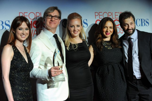 Actress Ellie Kemper, director Paul Feig, actresses Wendi McLendon-Covey, Maya Rudolph and producer Judd Apatow (L-R)appear backstage with the favorite comedy movie award they garnered for Bridesmaids during the 38th annual People's Choice Awards at the Nokia Theatre in Los Angeles on January 11, 2012. UPI/Jim Ruymen