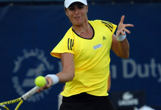Anabel Medina Garrigues, shown in a February 2009 file photo, won her second 6-0, 6-0 match in a week Tuesday with a first-round win in Portugal. (UPI Photo/Norbert Schiller)