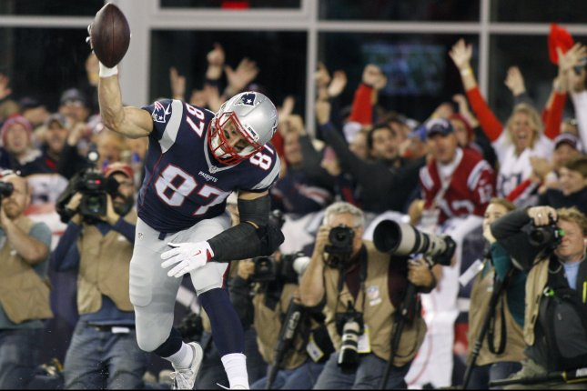 New England Patriots tight end Rob Gronkowski (87) after a 47-yard touchdown reception in the first quarter against the Miami Dolphins at Gillette Stadium in Foxborough, Massachusetts on October 29, 2015. Photo by Matthew Healey/ UPI