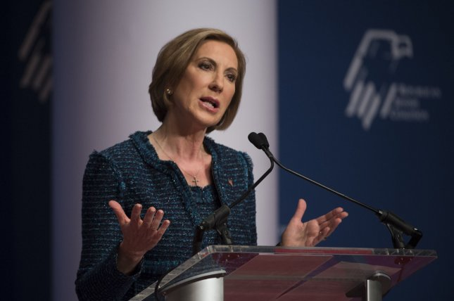 GOP Presidential candidate Carly Fiorina told MSNBC's Morning Joe hosts that more gun laws are not the answer to mass shootings. Photo by Molly Riley/UPI