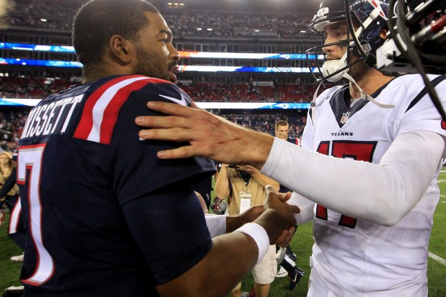 New England Patriots quarterback Jacoby Brissett (15) shakes hands with Houston Texans quarterback Brock Osweiler (17) after the Patriots defeated the Texans 27-0 at Gillette Stadium in Foxborough, Massachusetts on September 22, 2016. Photo by Matthew Healey/ UPI