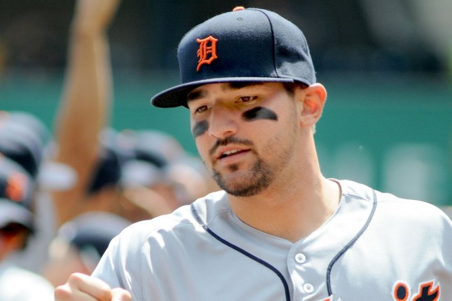 Detroit Tigers slugger Nick Castellanos (9) hit a two-run home run in the first inning of a loss to the Minnesota Twins on Thursday in Minneapolis. File photo by Archie Carpenter/UPI