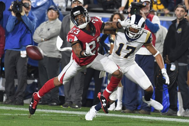 The Atlanta Falcons will release cornerback Robert Alford (23) after six seasons with the franchise. File photo by Jon SooHoo/UPI
