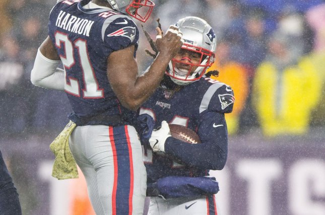 New England Patriots cornerback Stephon Gilmore (24) will miss his second consecutive game because of a knee injury. File Photo by Matthew Healey/UPI