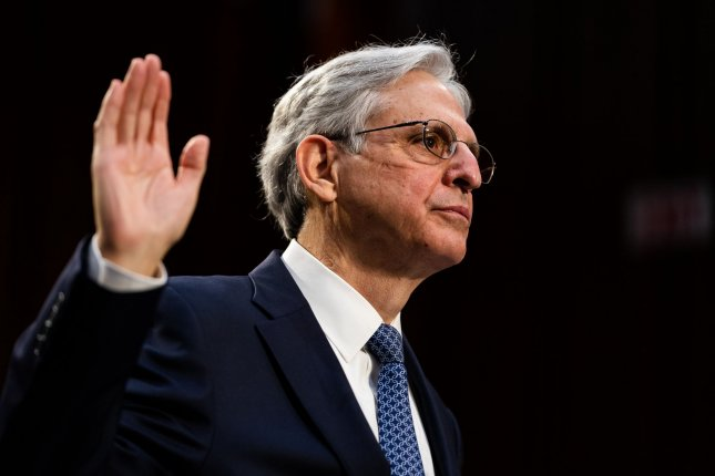 Judge Merrick Garland is sworn-in Monday before testifying before his Senate Judiciary Committee confirmation hearing on his nomination to be U.S. Attorney General, on Capitol Hill in Washington, D.C. Pool Photo by Demetrius Freeman/UPI