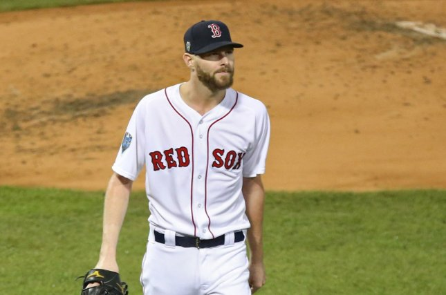 Boston Red Sox starting pitcher Chris Sale, shown Oct. 23, 2018, will have to sit out a minimum of 10 days under MLB protocols. File Photo by Matthew Healey/UPI