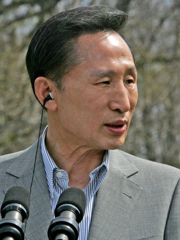South Korean President Lee Myung Bak on April 19, 2008. (UPI Photo/Dennis Brack/Pool)