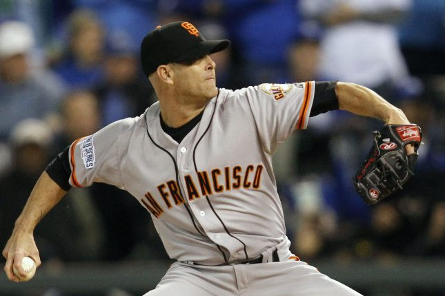 San Francisco Giants starting pitcher Tim Hudson. UPI/Jeff Moffett