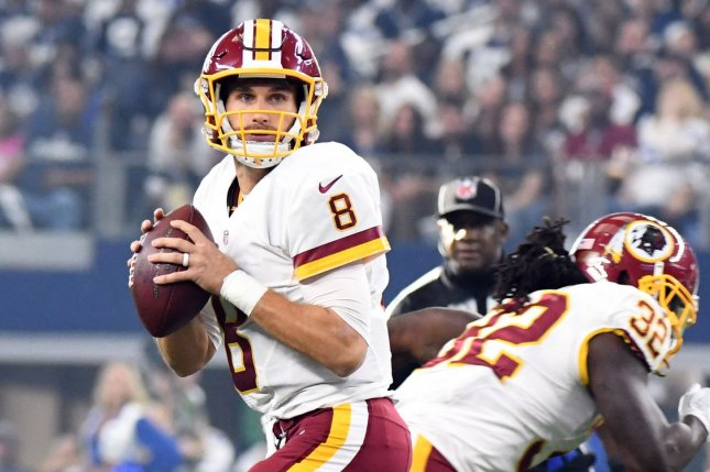 Washington Redskins QB Kirk Cousins looks to throw against the Dallas Cowboys during the first half of their game at AT&T Stadium on November 24, 2016 in Arlington, Texas. File photo by Ian Halperin/UPI