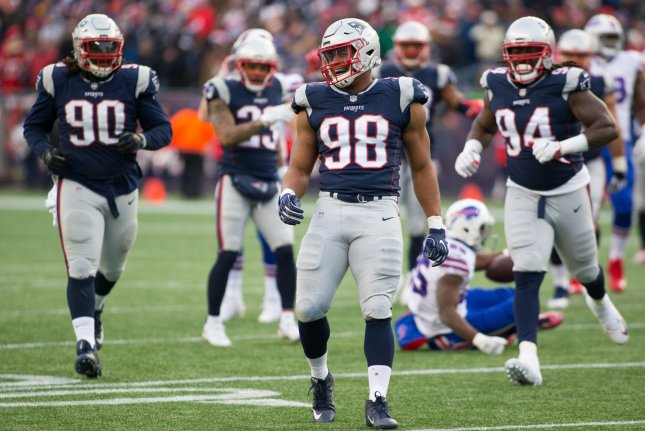 Former New England Patriots defensive lineman Trey Flowers (98) signed a five-year, $90 million contract with the Detroit Lions this off-season. File Photo by Matthew Healey/UPI